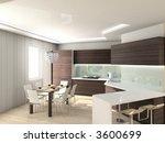 modern comfortable kitchen. 3d...   Shutterstock . vector #3600699