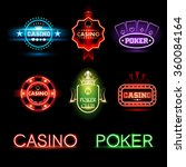neon poker and casino emblems | Shutterstock .eps vector #360084164