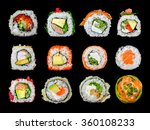 twelve sushi roll in one | Shutterstock . vector #360108233