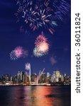manhattan and 4th july firework | Shutterstock . vector #36011824