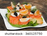 slice of baguette with smoked... | Shutterstock . vector #360125750