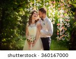 bride and groom on their... | Shutterstock . vector #360167000
