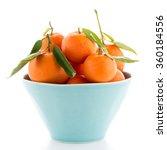 Tangerines On Ceramic Blue Bowl ...