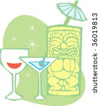 Retro styled Tiki and a dry martini with wine. - stock vector