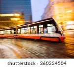 Small photo of Modern tram in motion blur, Prague city, Europe