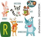 cute zoo alphabet in vector. r... | Shutterstock .eps vector #360243554