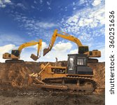 Excavator And Grader Working A...