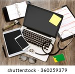 view of a wood doctor's desk in ... | Shutterstock . vector #360259379