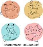 Stock vector fox characters cute lovely illustrations 360305339