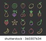 fresh fruit outline color icon... | Shutterstock .eps vector #360307634