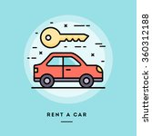 rent a car  flat design thin...