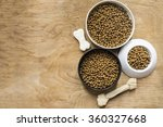 dog bone and dog food on wood... | Shutterstock . vector #360327668