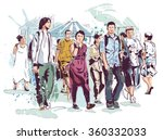 teenager walk | Shutterstock .eps vector #360332033