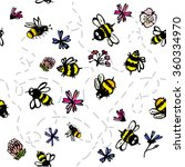 bees and flowers seamless... | Shutterstock .eps vector #360334970