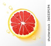 vector grapefruit slice  drops... | Shutterstock .eps vector #360339194