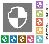 shield flat icon set on color...