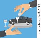 dealership agent giving car key ... | Shutterstock .eps vector #360371204