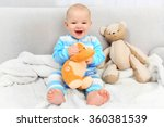 adorable baby with teddy bears... | Shutterstock . vector #360381539