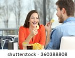 cheerful couple talking and...   Shutterstock . vector #360388808