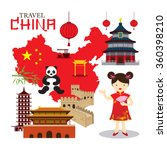 chinese girl travel china  tour ... | Shutterstock .eps vector #360398210