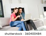 cheerful young couple man and... | Shutterstock . vector #360400484
