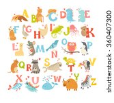 cute vector zoo alphabet. funny ... | Shutterstock .eps vector #360407300