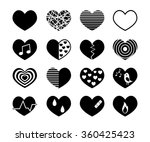 vector black hearts icons set. | Shutterstock .eps vector #360425423