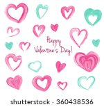 happy valentine's set of pink... | Shutterstock . vector #360438536