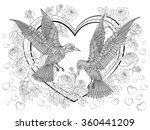 hand drawn birds on the hearts...   Shutterstock .eps vector #360441209
