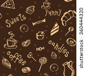 seamless pattern with coffee ... | Shutterstock .eps vector #360444320