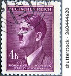Small photo of GRANADA, SPAIN - NOVEMBER 15, 2015: stamp printed in the Protectorate Czech and Morava shows portrait of Adolf Hitler, circa 1942