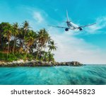 airplane flying over amazing... | Shutterstock . vector #360445823