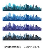 set of city silhouettes.... | Shutterstock .eps vector #360446576