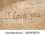 I Love You Handwritten In Sand...