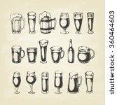 set of beer mugs. hand drawn...   Shutterstock .eps vector #360464603