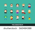 set of different pixel art... | Shutterstock .eps vector #360484388
