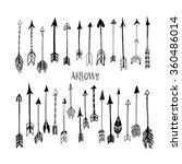 Collection of hand drawn arrows. Ink illustration. Isolated on white background. Set of decorative arrows. Vector design set. Hand drawn decor elements for your design.
