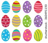 vector set of easter eggs of... | Shutterstock .eps vector #360491150