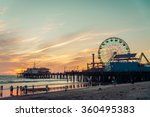 Santa monica pier at sunset ...
