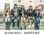 multicultural group of friends... | Shutterstock . vector #360495389