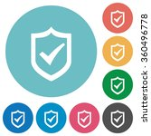 flat active shield icon set on...