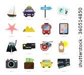 set of sixteen color travel... | Shutterstock .eps vector #360514850