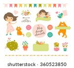 trendy design elements of girl... | Shutterstock .eps vector #360523850