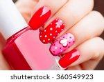 valentine nail art manicure.... | Shutterstock . vector #360549923
