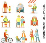 set of old people in different... | Shutterstock .eps vector #360590336