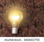 simple light bulbs on brown... | Shutterstock . vector #360602750