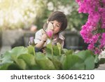 asian boy with magnifying glass ... | Shutterstock . vector #360614210
