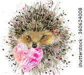 Watercolor Hedgehog. Hedgehog...
