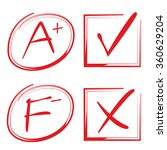 grade results and check marks | Shutterstock .eps vector #360629204