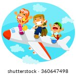 excited travelers flying in an... | Shutterstock .eps vector #360647498